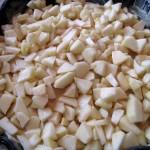 Les pommes sur la pâte