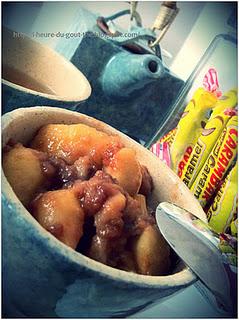 Compotée de pommes, vanille, gingembre, cannelle et Carambar