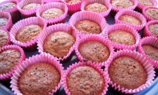 Muffins pommes, miel, chocolat
