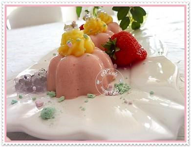 Recette du Bavarois à la fraise avec ses perles de violette