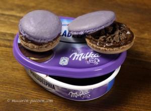 Macarons Philadelphia Milka et chocolat croquant