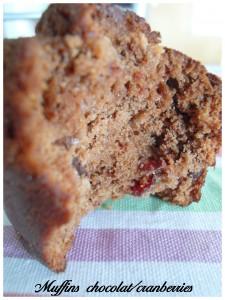 Muffins tout chocolat et cranberries