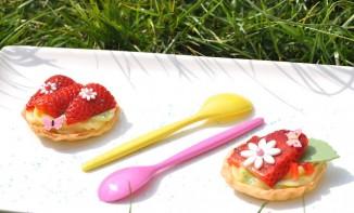 Tartelettes aux fraises et sa crème pâtissière au basilic