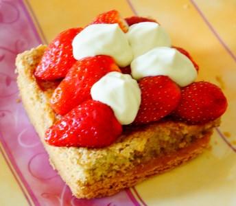 Tarte aux fraises, crème pistache