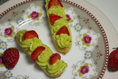 éclairs pistache et fraises