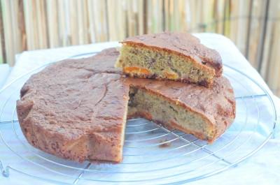 Gâteau abricots framboises