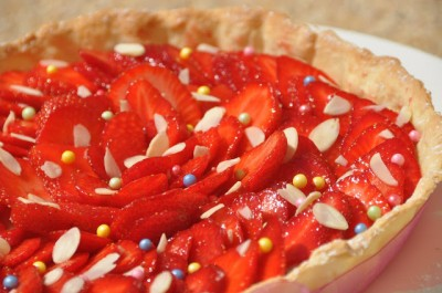 Tarte aux fraises crème d'amande au romarin
