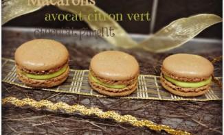 Macarons avocat citron vert et chocolat piment